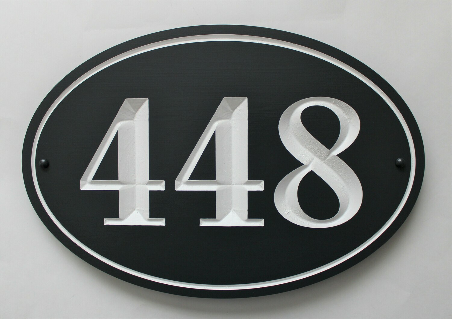 Oval Address Sign - Painted Wood House Number  Sign