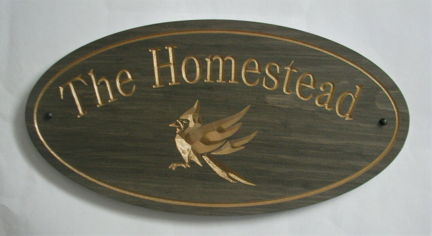 Custom Oval Family Name Sign Cottage Sign with Carved Cardinal