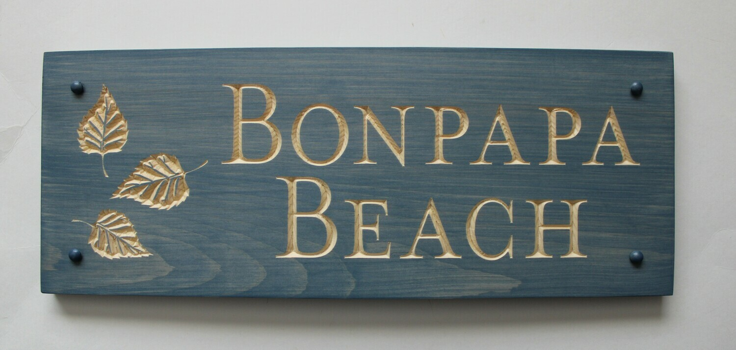 Custom Carved Stained Outdoor Wood Family Name Sign with Carved Leaves