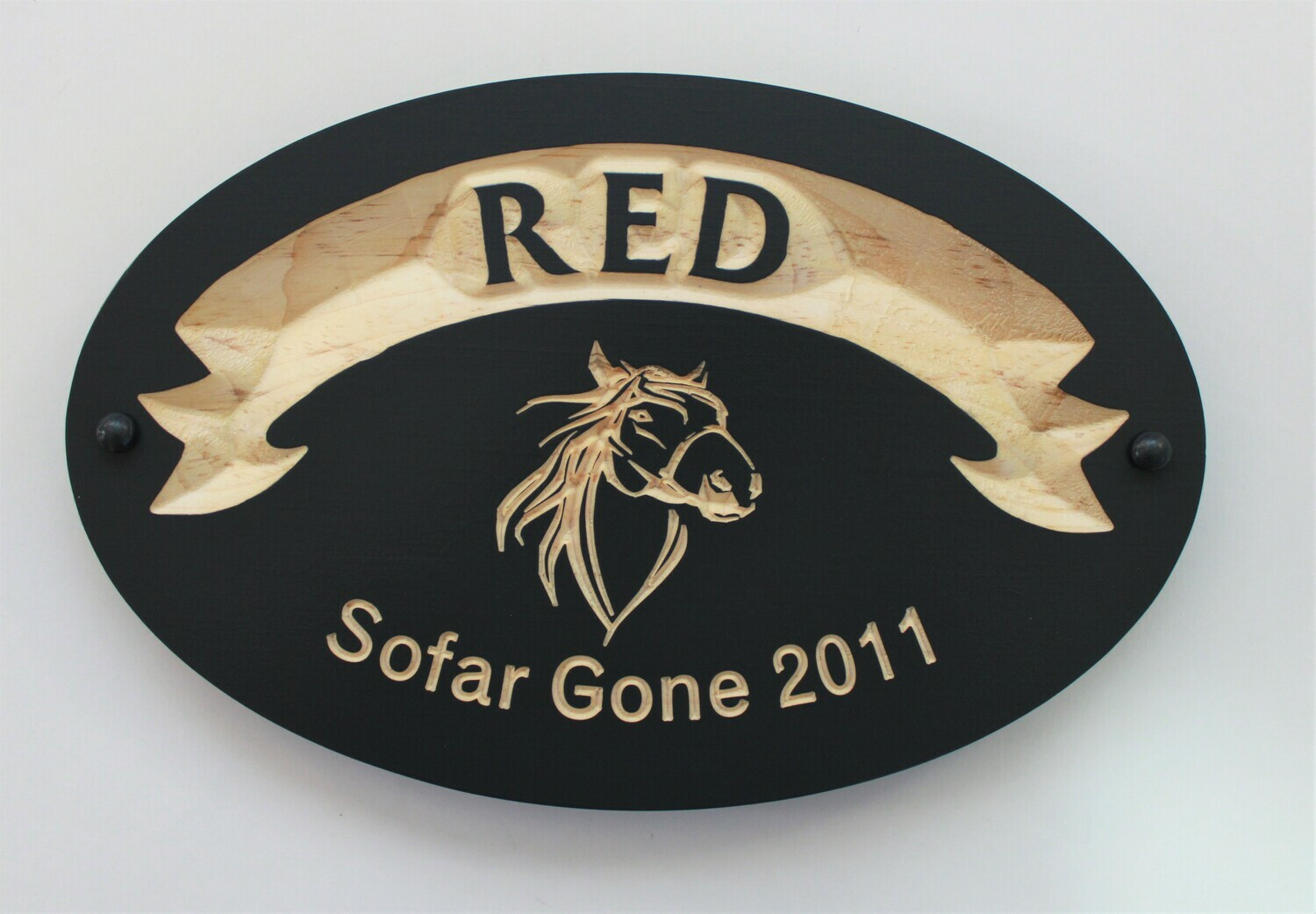 Carved Wood Horse Stall Name Plaque