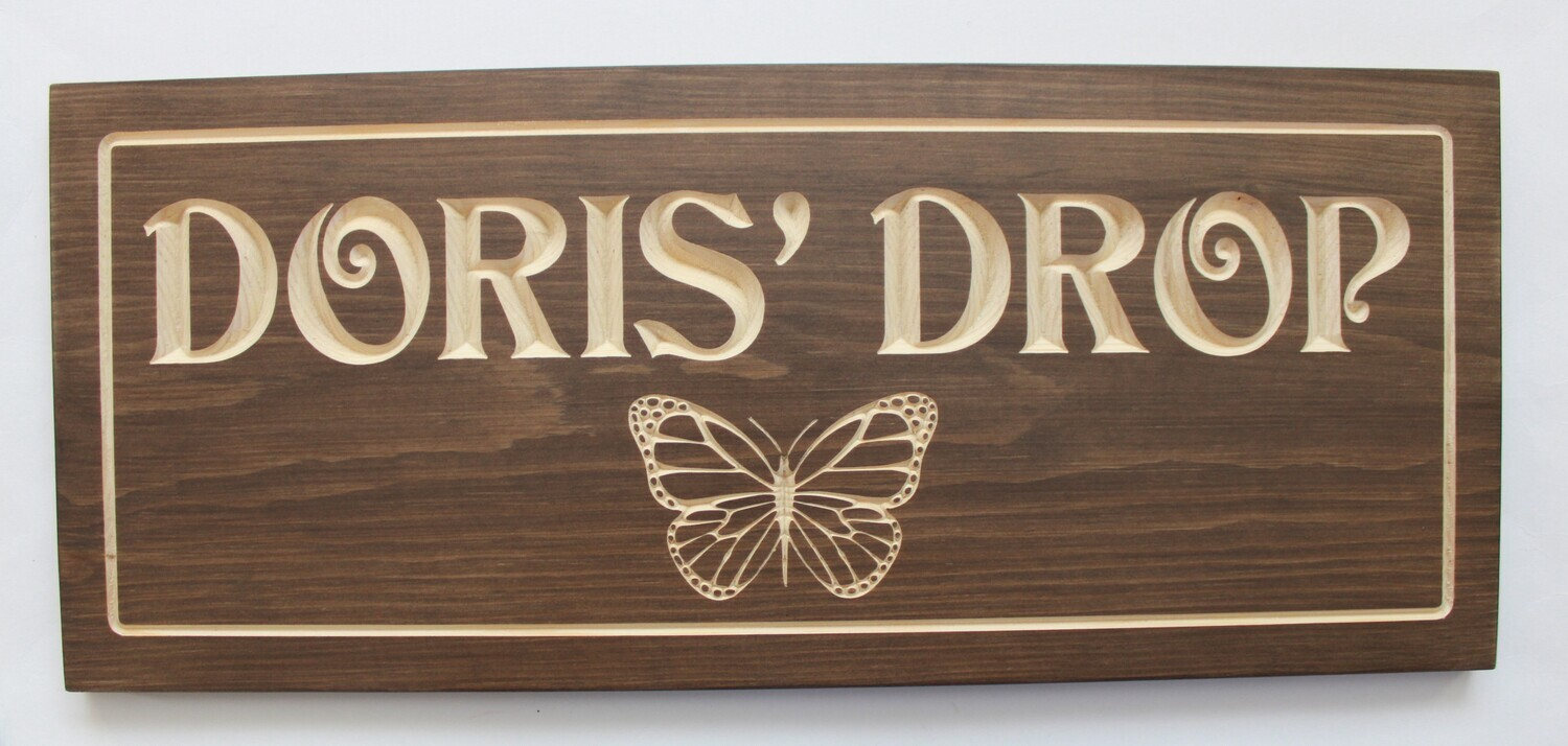 Custom Carved Stained Wood Cottage Sign Camp Sign Outdoor Sign with Carved Butterfly