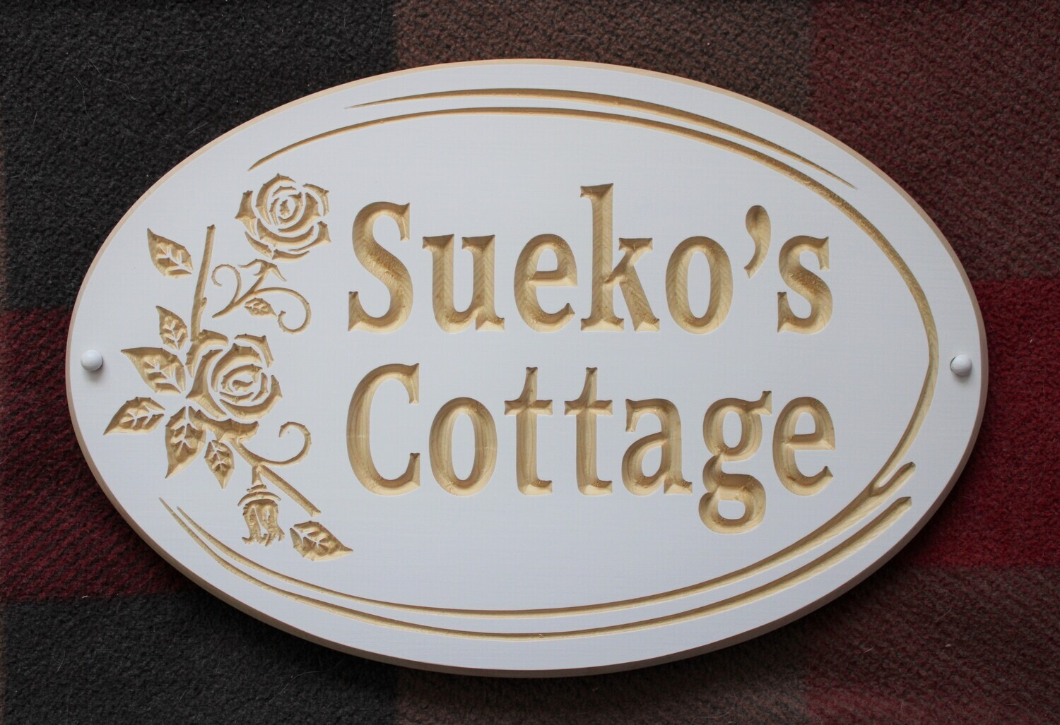 Custom Exterior Oval Wood Sign with Flowers