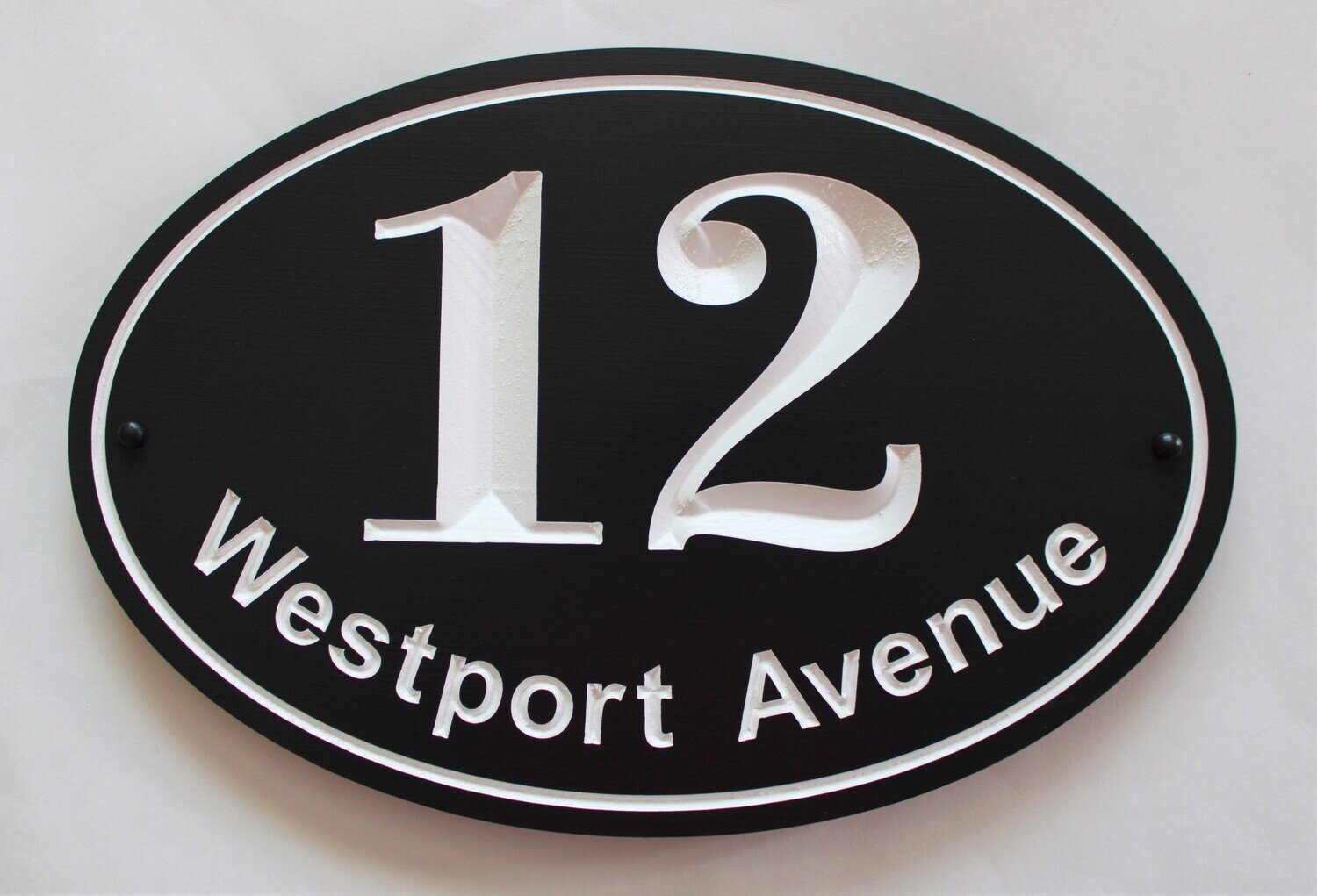 Custom Oval Address Sign - Painted Wood House Number Address Sign - House Number Address Plaque - Street Name Sign