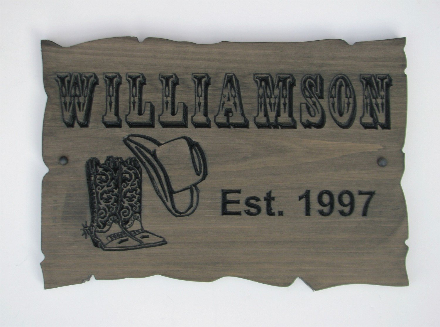 Customizable Wood Sign Rustic Cabin Sign Camp Sign Stained Western Inspired Family Name Sign with Carved Cowboy Boots and Hat