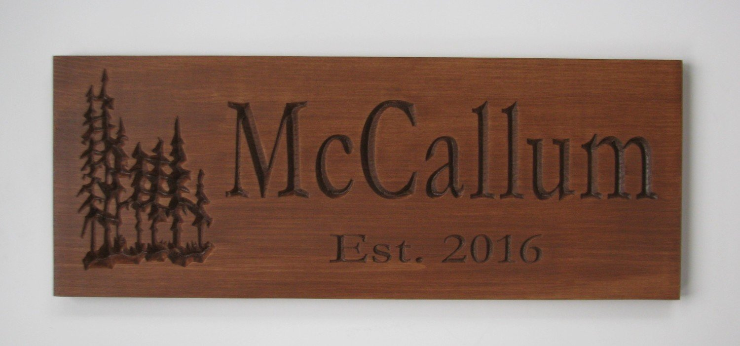 Rustic Wood Sign Cabin Sign Camp Sign Family Name Sign with Carved Treescape