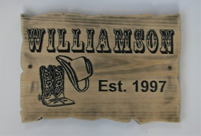 Customizable Wood Sign Rustic Cabin Sign Camp Sign Stained Distressed Look Western Inspired Family Name Sign with Carved Cowboy Boots and Hat