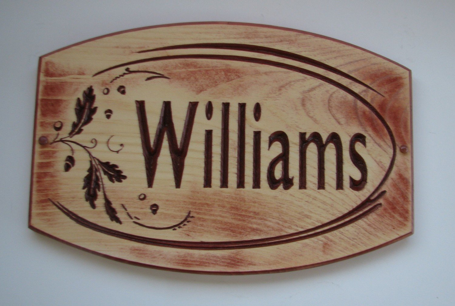 Custom Wood Sign Rustic Distressed Look House Sign Cottage Sign with Oak Leaves and Acorns