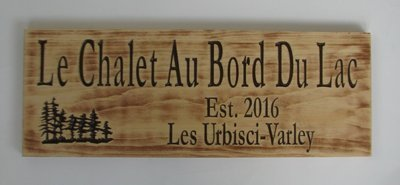 Personalized Rustic Stained Distressed Look Wood Sign Cabin Sign Camp Sign Family Name Sign with Carved Treescape