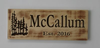 Rustic Wood Distressed Look Sign Cabin Sign Camp Sign Family Name Sign with Carved Treescape