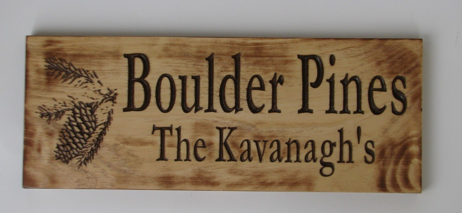 Rustic Wood Sign Distressed Look Cabin Sign Camp Sign Family Name Sign with Carved PineCone