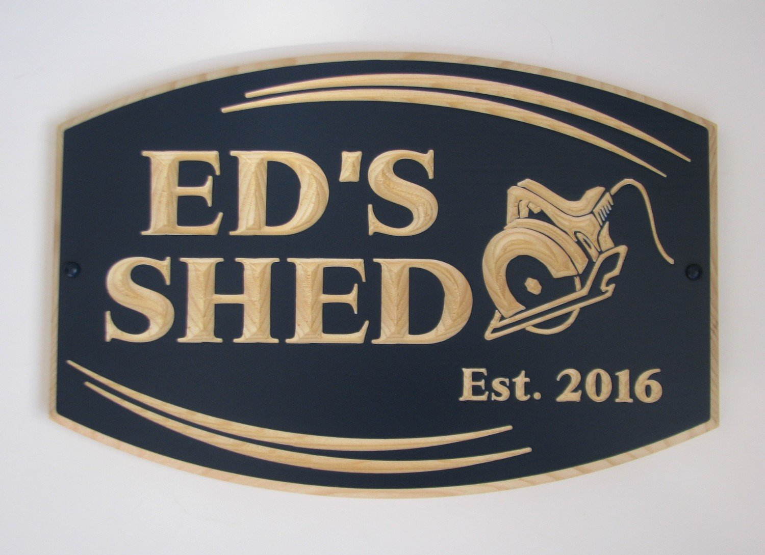 Custom Carved Painted Wood Sign Shed Sign Man Cave Sign with Carved Saw