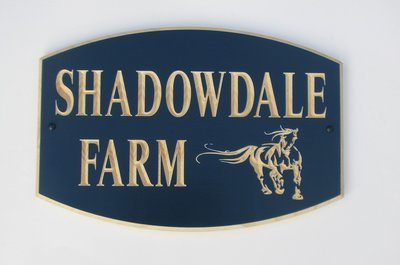 Custom Carved Painted Wood Sign with Carved Horse