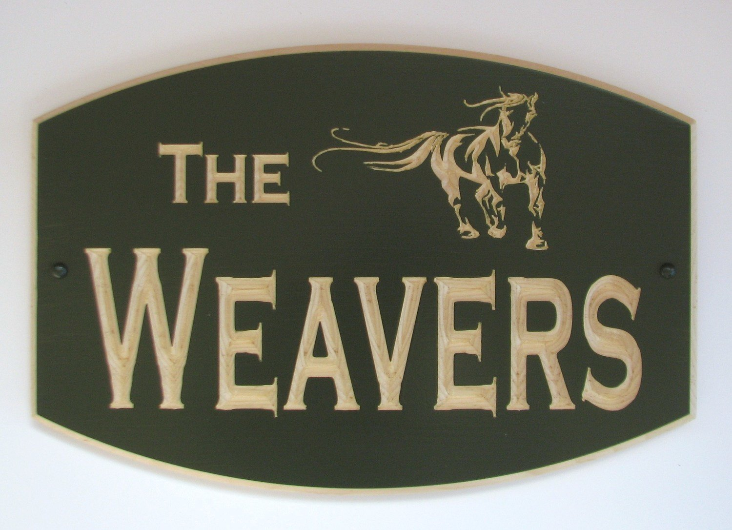 Custom Carved Painted Outdoor Wood Sign with Carved Horse