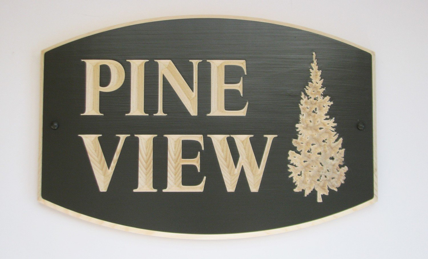 Custom Painted Outdoor Wood Sign with Carved Pine Tree