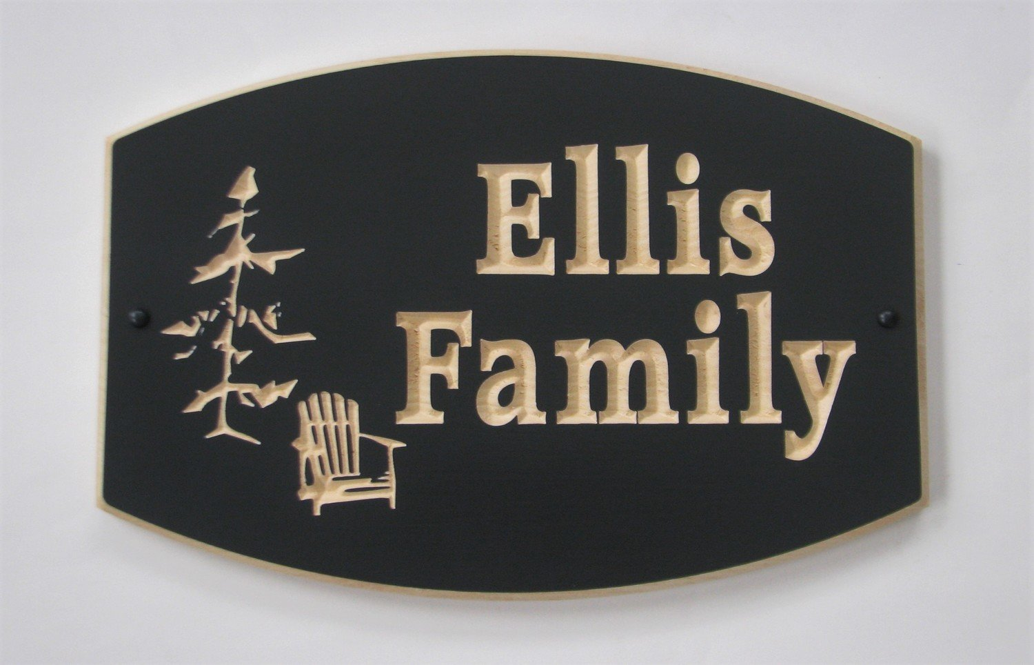 Custom Exterior Wood Sign Painted with carved Muskoka Tree and Chair