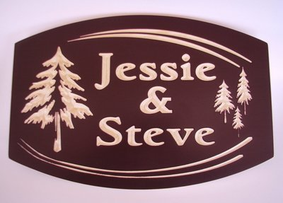 Custom Exterior Wood Cottage Sign with Carved Evergreen Trees