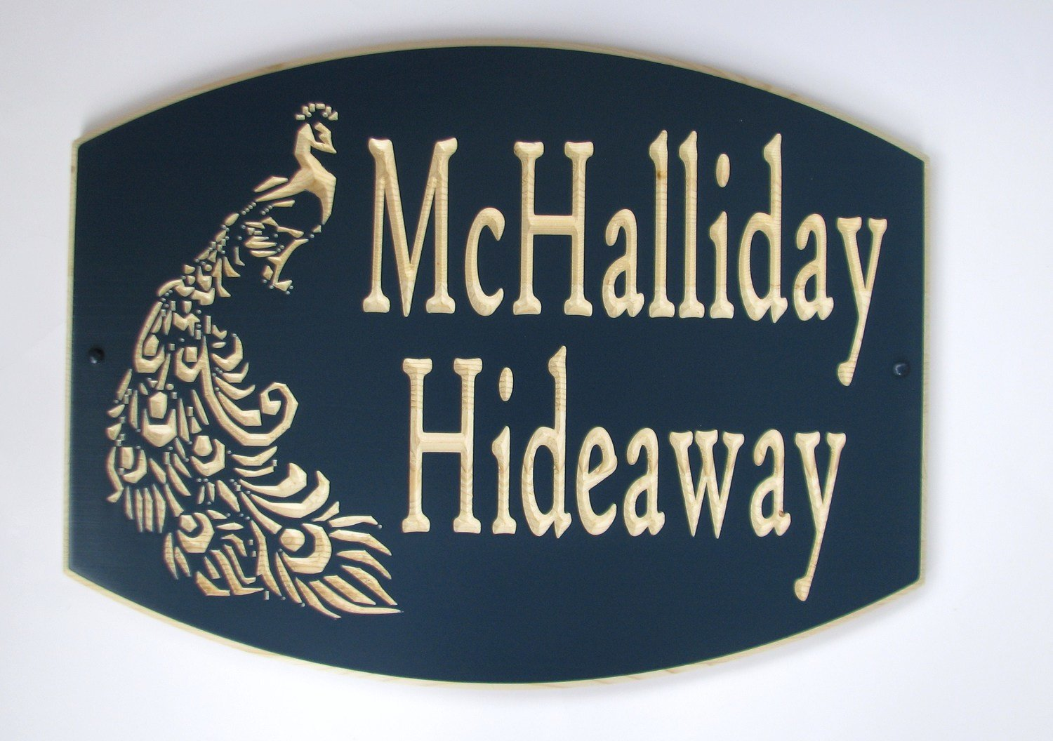 Large Custom Wood House Sign Cottage Sign with Carved Peacock