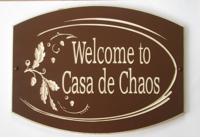Large Custom Wood House Sign Cottage Sign with Carved Oak Leaves and Acorns