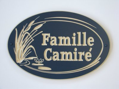 Custom Exterior Wood Oval Cottage Sign with Carved Cattails and Lily Pads