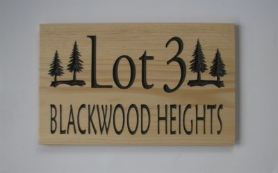 Custom Carved Address Sign Pine sign with Painted Carving