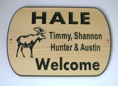 Custom Carved Pine Welcome sign with Painted Carving and Moose