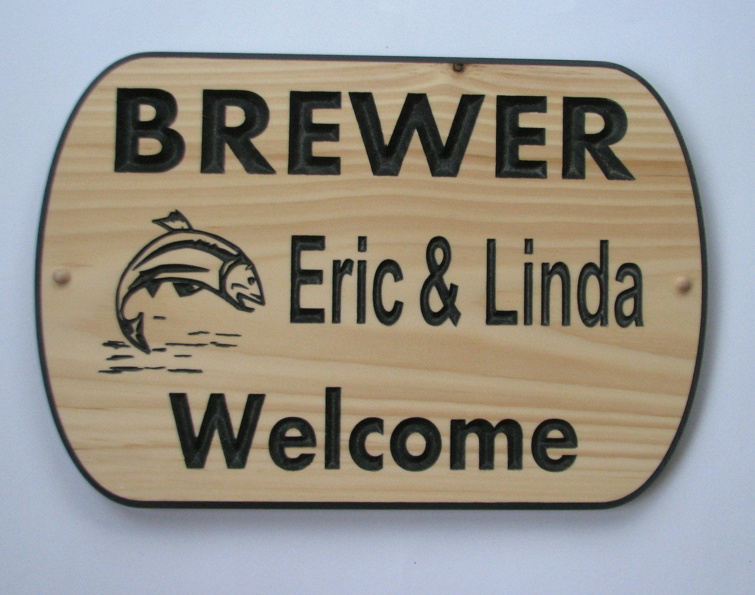 Custom Carved Pine Welcome sign with Painted Carving and Fish
