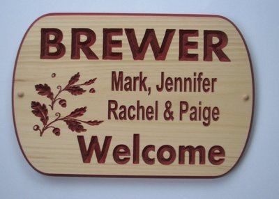 Custom Carved Pine Welcome sign with Painted Carving and Oak Leaves and Acorns