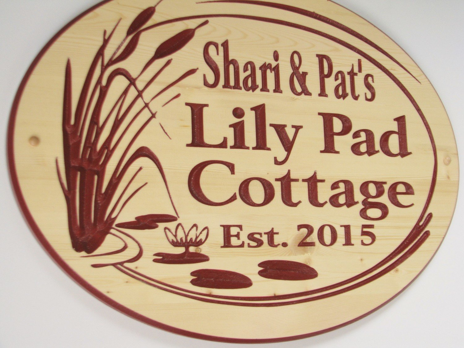 Custom Carved Pine Cottage sign with Painted Carving and Cattails and Lilypads