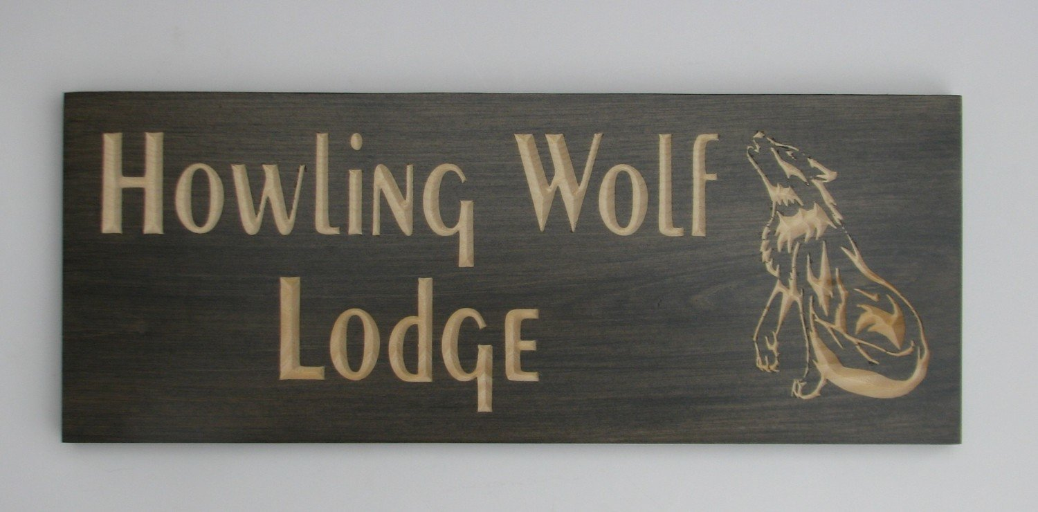 Custom Carved Stained Outdoor Wood Cottage/Camp Sign with Carved Wolf