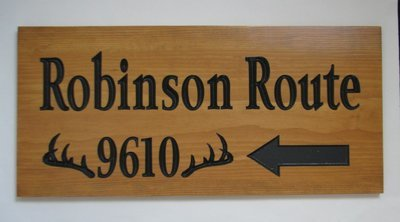 Custom Wood Address Sign Directional Sign with Antlers