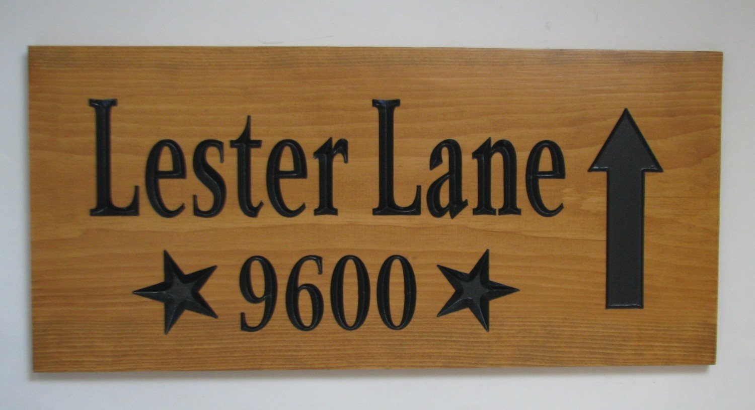 Custom Wood Address Sign Directional Sign with Stars