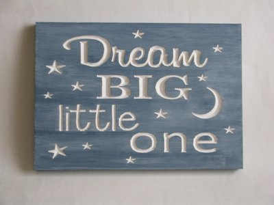 Whitewashed Wood Sign Nursery Sign Blue Baby Room Sign Dream Big Little One