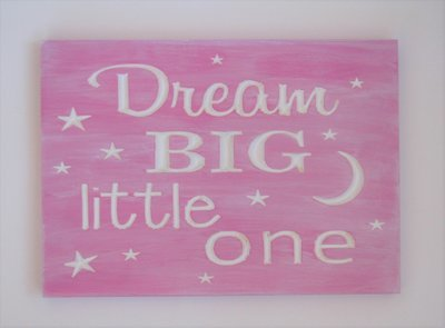 Whitewashed Wood Sign Nursery Sign Pink Baby Room Sign Dream Big Little One