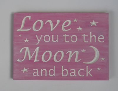 Whitewashed Wood Sign Nursery Sign Pink Baby Room Sign Love you to the Moon and Back