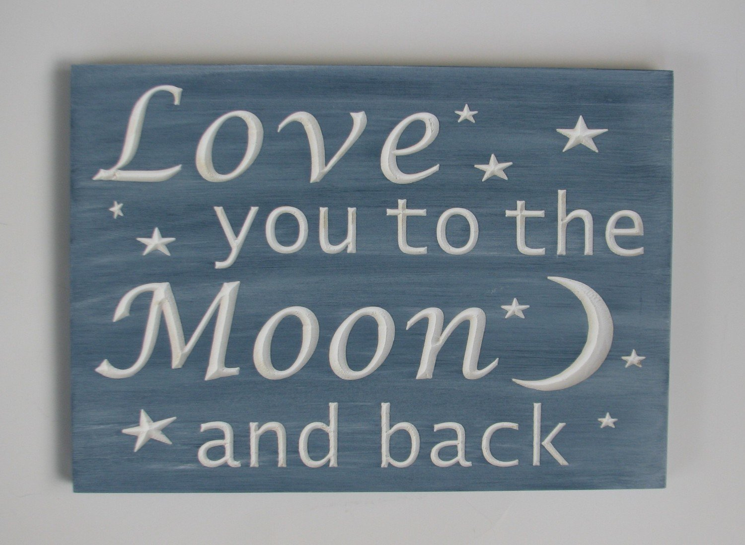 Whitewashed Wood Sign Nursery Sign Blue Baby Room Sign Love you to the Moon and Back