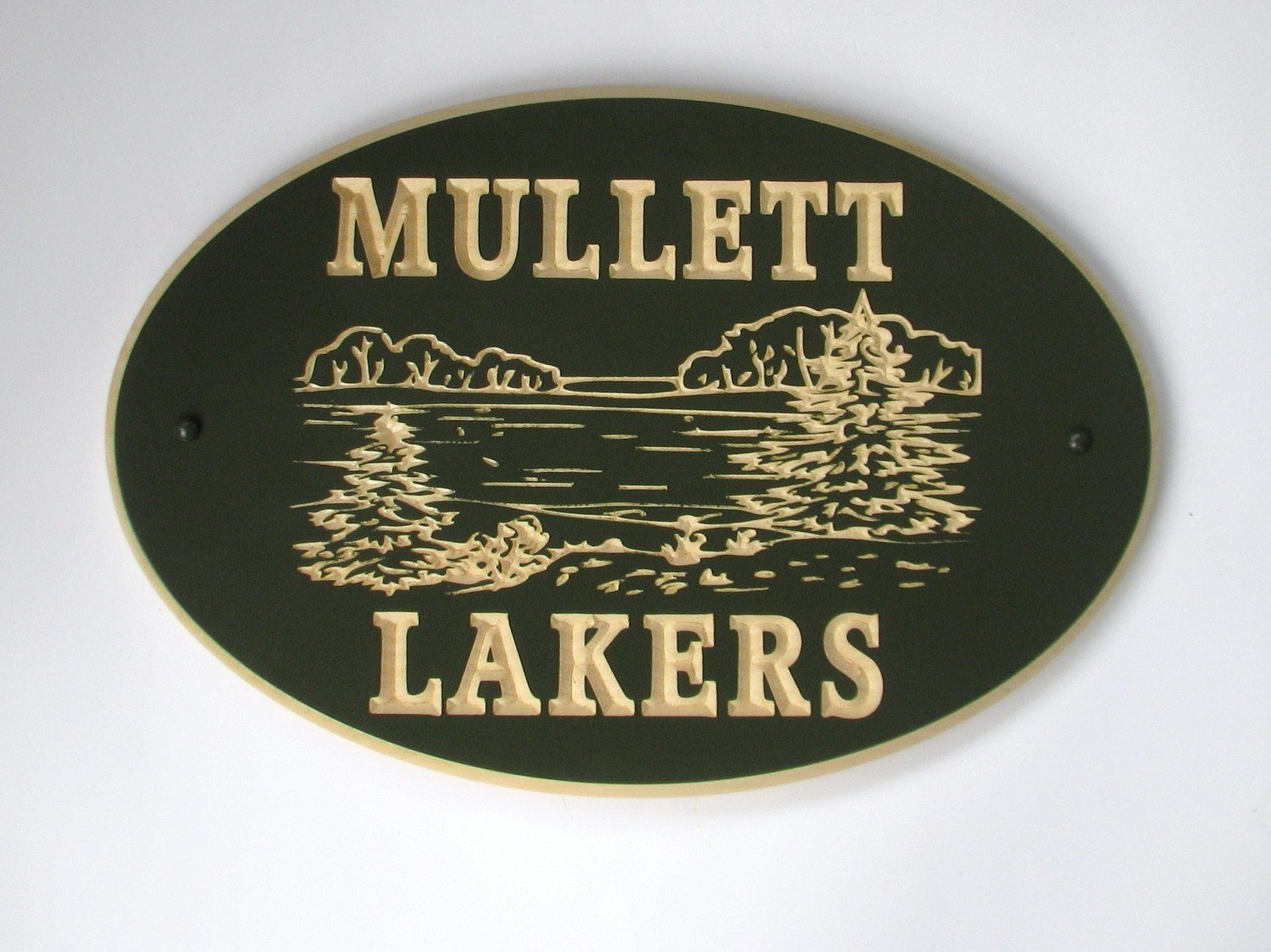 Custom Exterior Wood Oval Cottage Sign with Carved Lake Scene