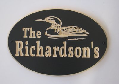 Custom Exterior Oval Wood Sign with Carved Loon