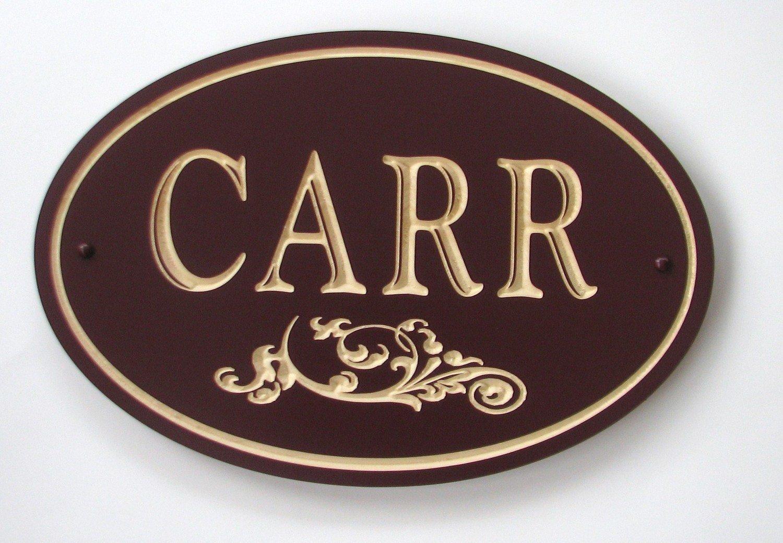 Custom Exterior Oval Wood Family Name Sign with Flourish