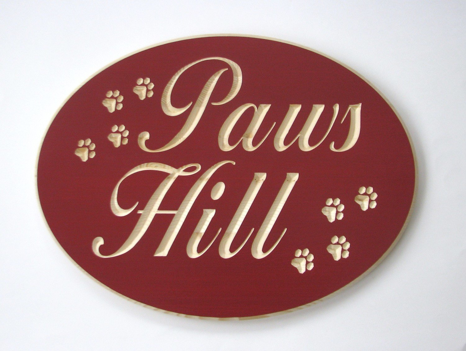 Custom Carved Pine Cottage sign with Pawprint Carving