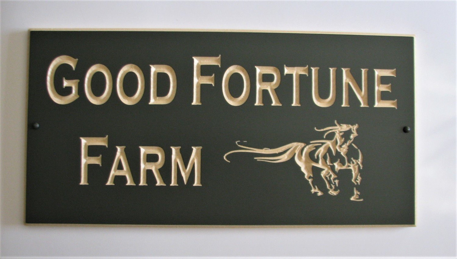 Custom Carved Pine Sign with Carved Horse