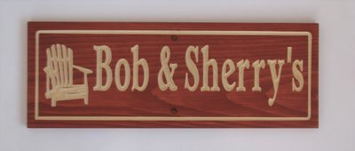 Custom Carved Stained Outdoor Wood Camp Sign