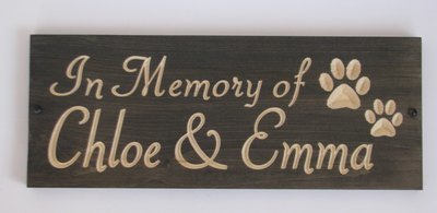 Custom Carved Stained Outdoor Wood Pet Memorial Sign with Pawprints