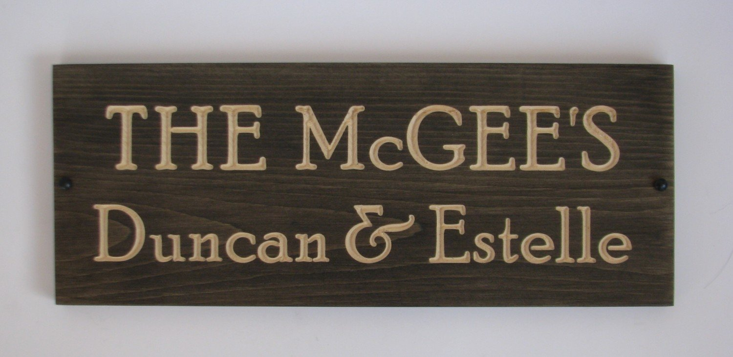 Custom Carved Stained Outdoor Wood Family Name Sign