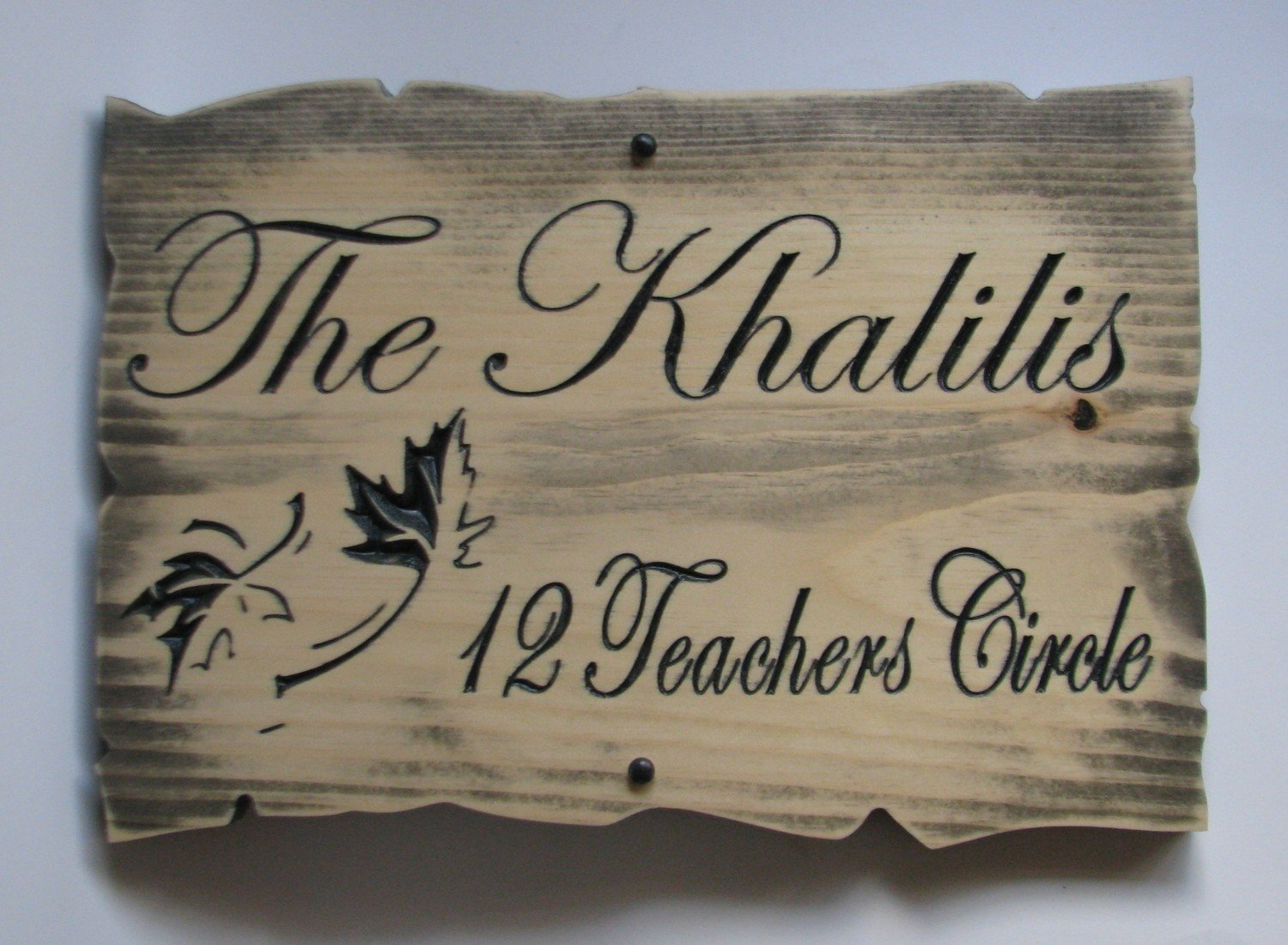 Customizable Rustic Wood Sign Family Name Sign with Carved Maple Leaves