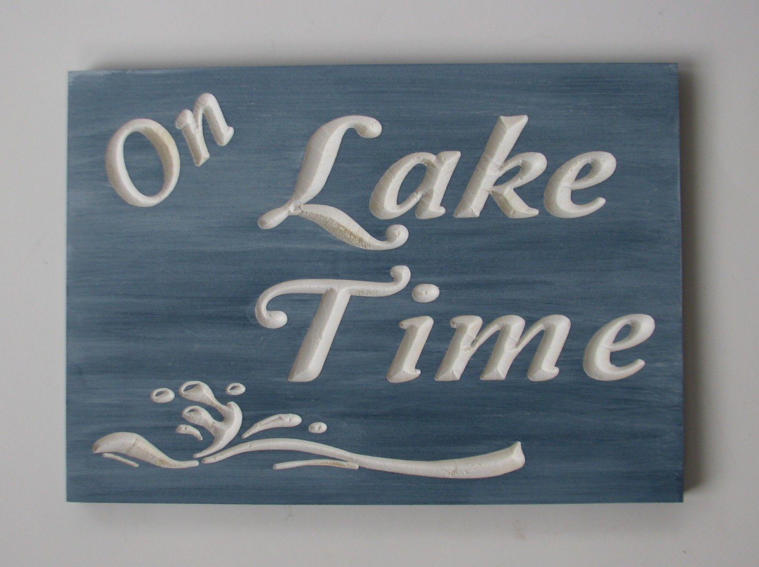 Whitewashed Rustic Wood On Lake Time Sign