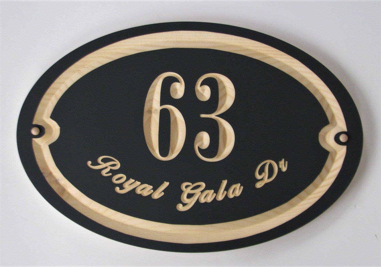 Custom Exterior Wood Oval House Number Address Sign