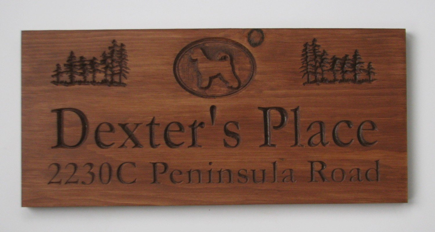 Customized Rustic Stained Wood Sign with Dog Silhouette and Trees