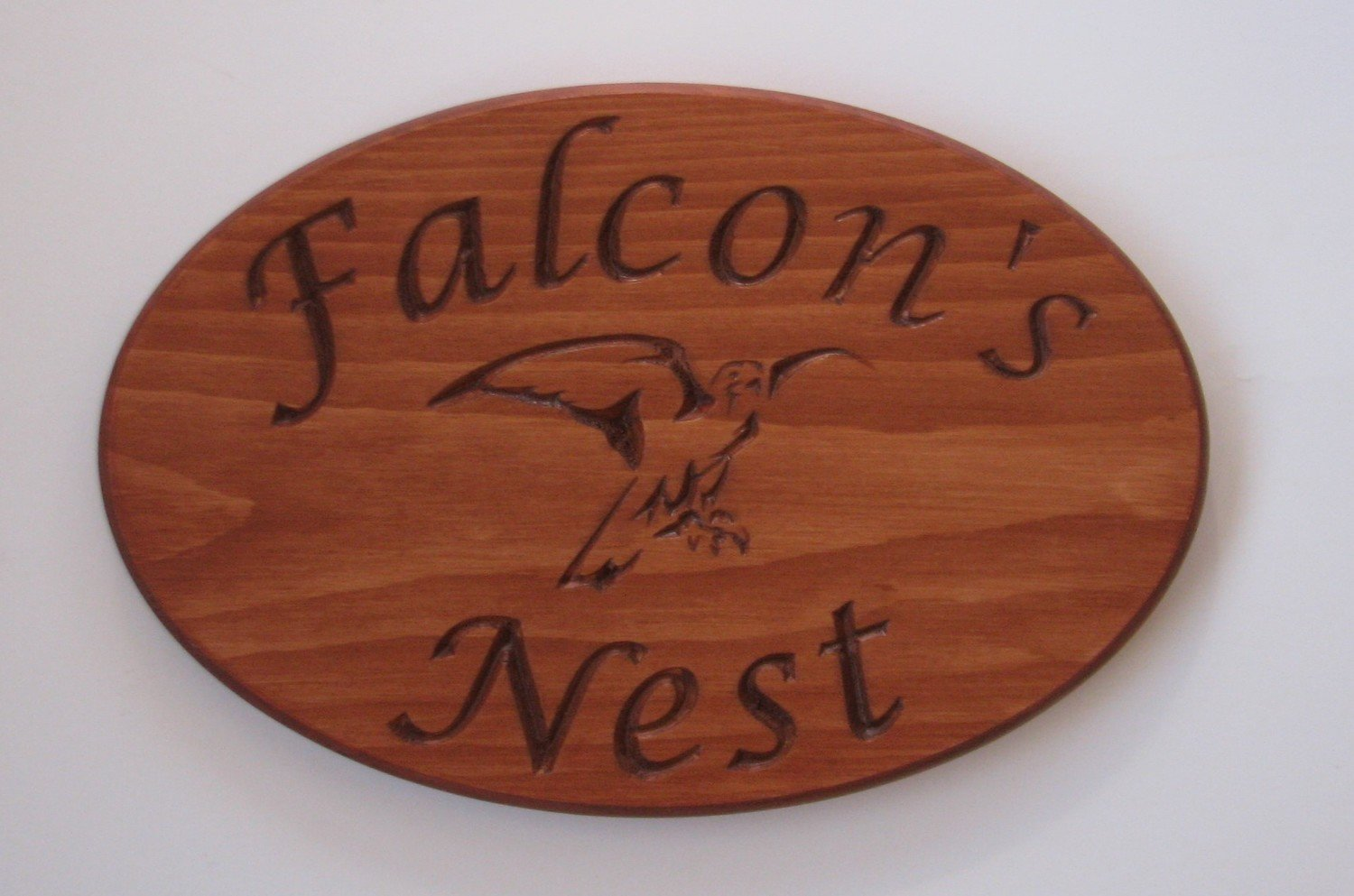 Indoor Stained Wood Falcons Nest Plaque