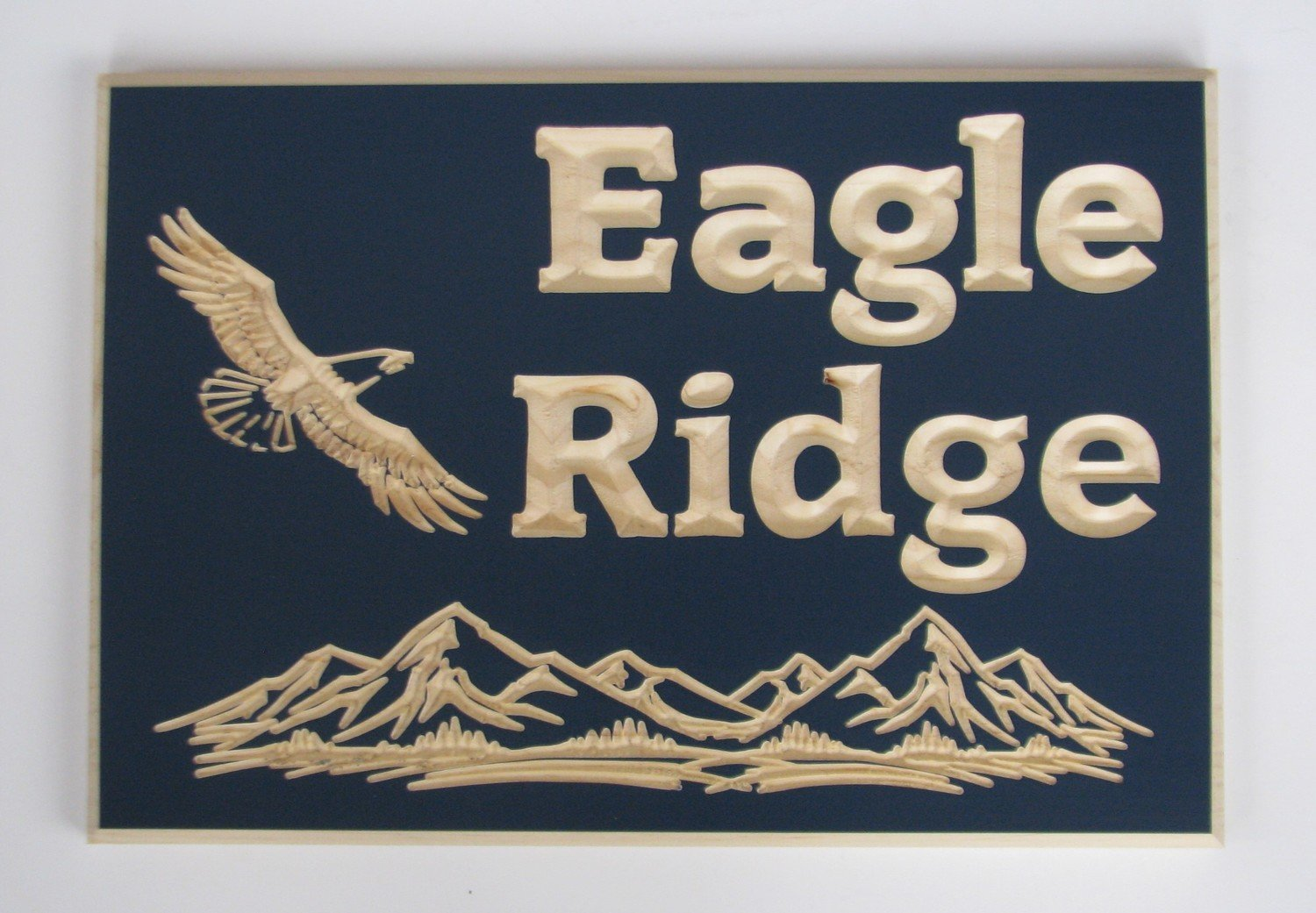 Custom Carved Pine Sign with Carved Eagle and Mountains