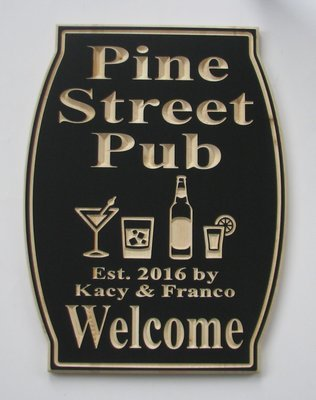 Custom Personalized Bar Sign Pub Sign Man Cave Sign with carved Variety Glasses